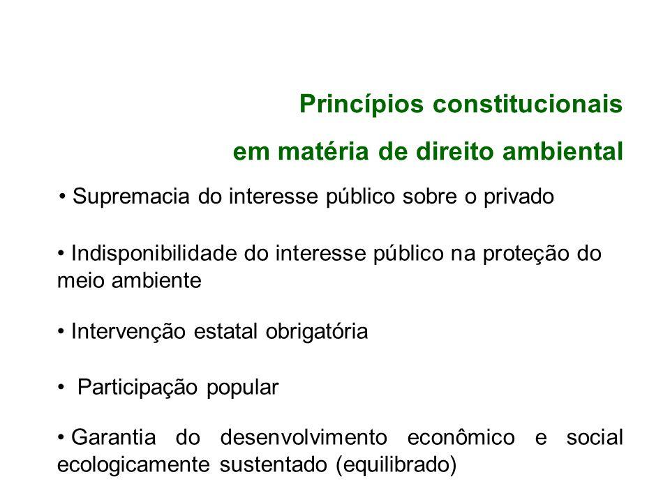 Princípios constitucionais em matéria de direito ambiental