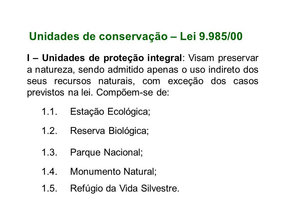 Unidades de conservação – Lei 9.985/00
