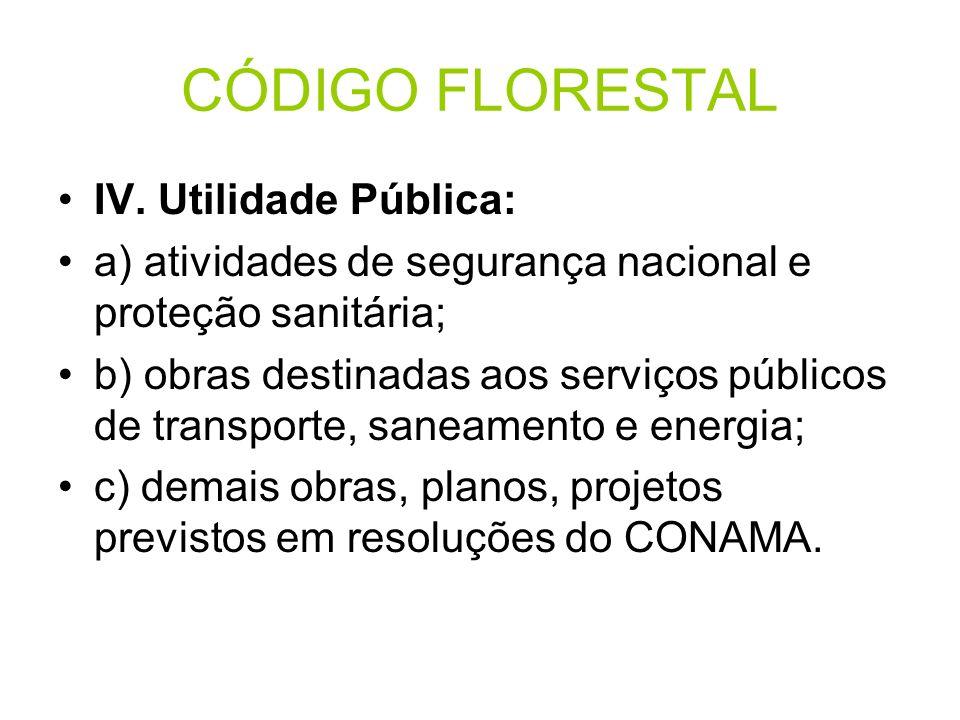 CÓDIGO FLORESTAL IV. Utilidade Pública: