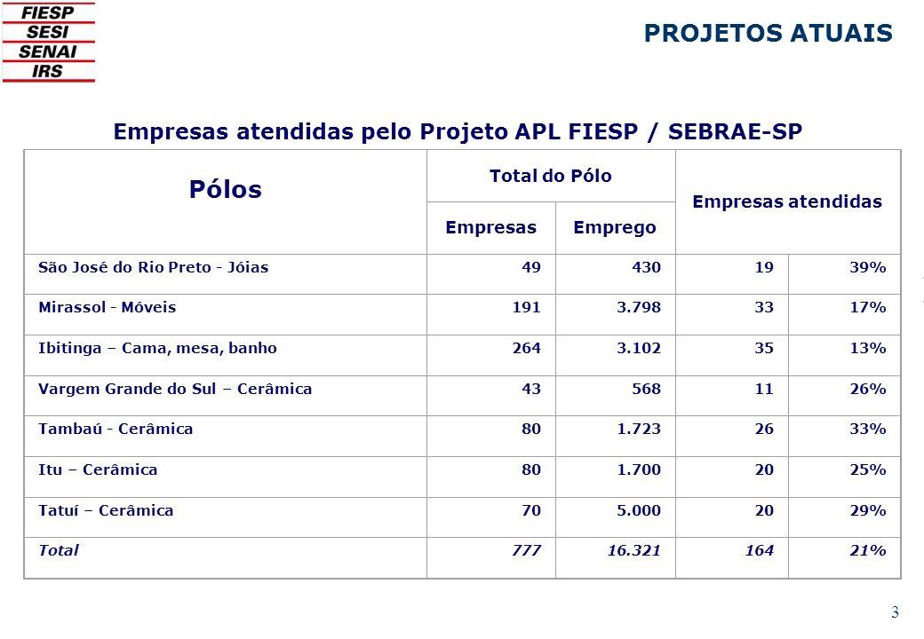 Empresas atendidas pelo Projeto APL FIESP / SEBRAE-SP