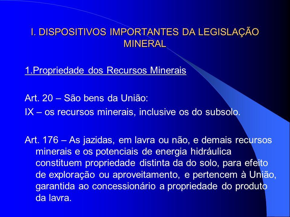 I. DISPOSITIVOS IMPORTANTES DA LEGISLAÇÃO MINERAL