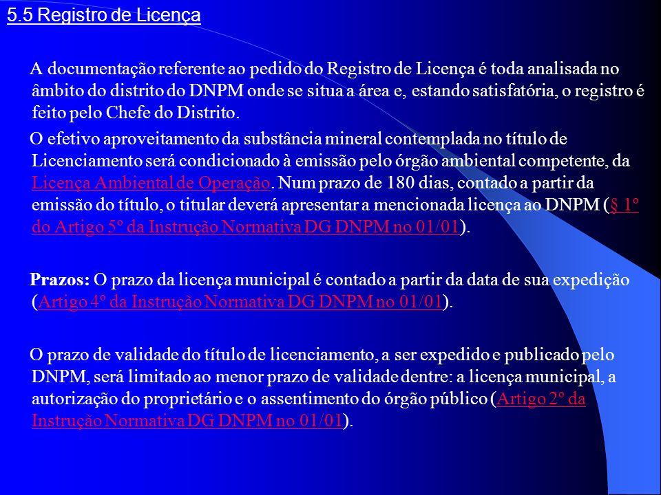 5.5 Registro de Licença