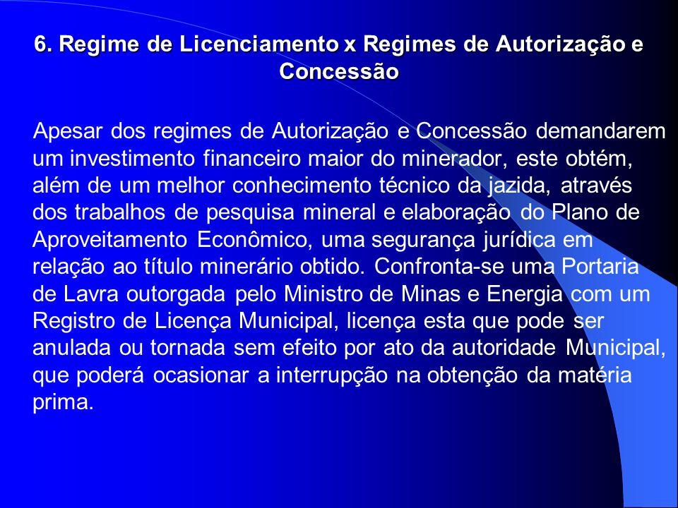 6. Regime de Licenciamento x Regimes de Autorização e Concessão