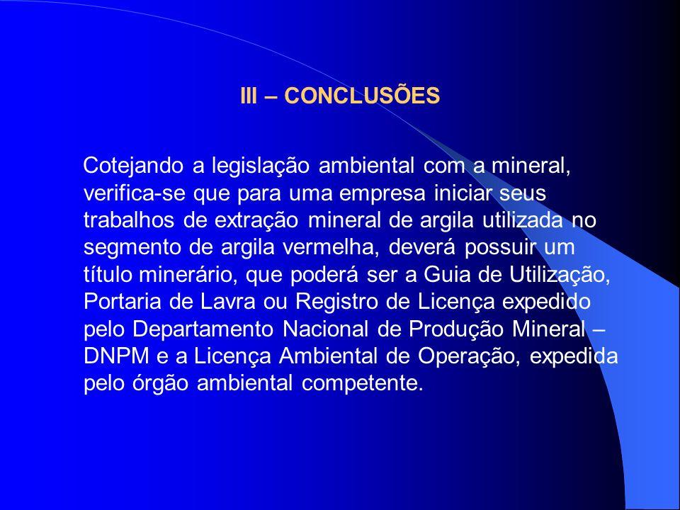 III – CONCLUSÕES