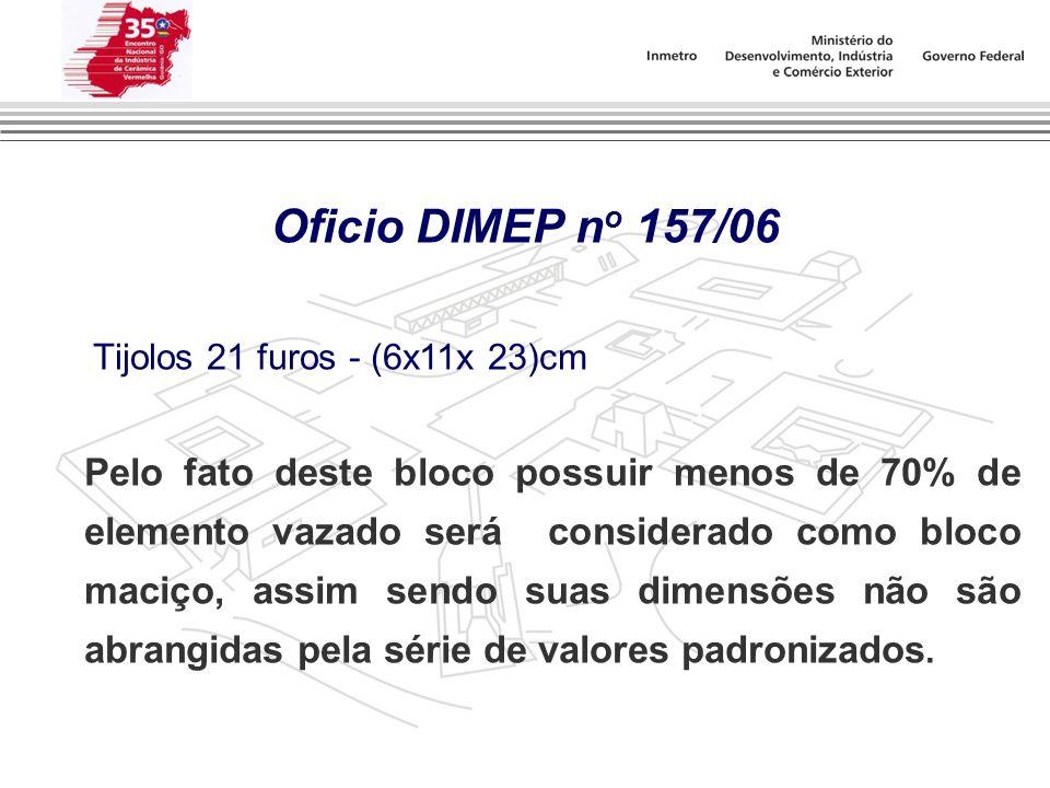 Oficio DIMEP no 157/06 .Tijolos 21 furos - (6x11x 23)cm.