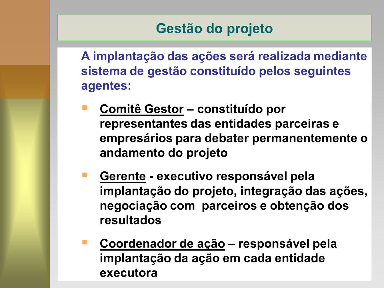 Gestão do projeto A implantação das ações será realizada mediante sistema de gestão constituído pelos seguintes agentes:
