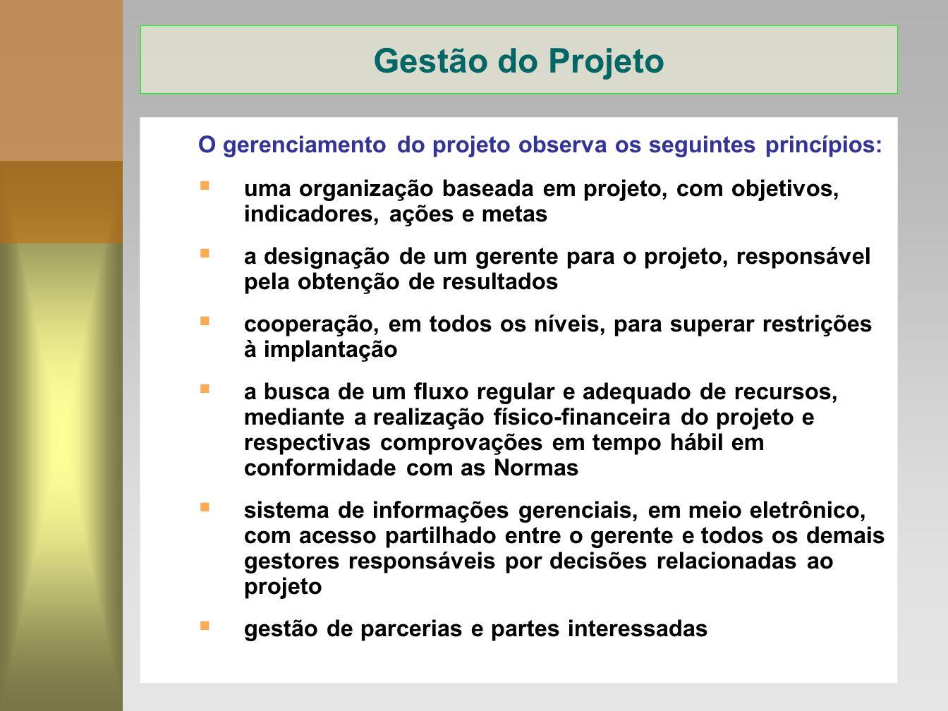 Gestão do Projeto O gerenciamento do projeto observa os seguintes princípios:
