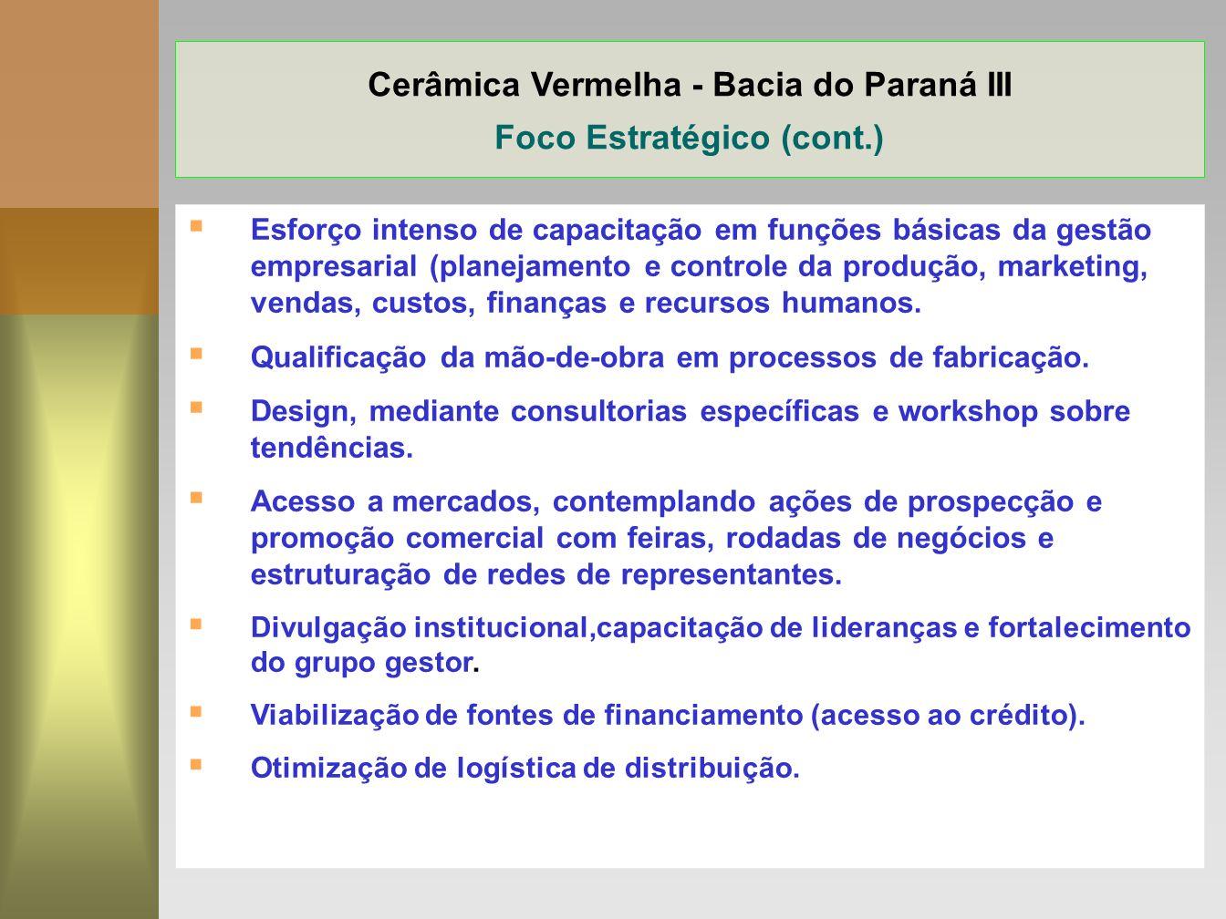 Cerâmica Vermelha - Bacia do Paraná III Foco Estratégico (cont.)
