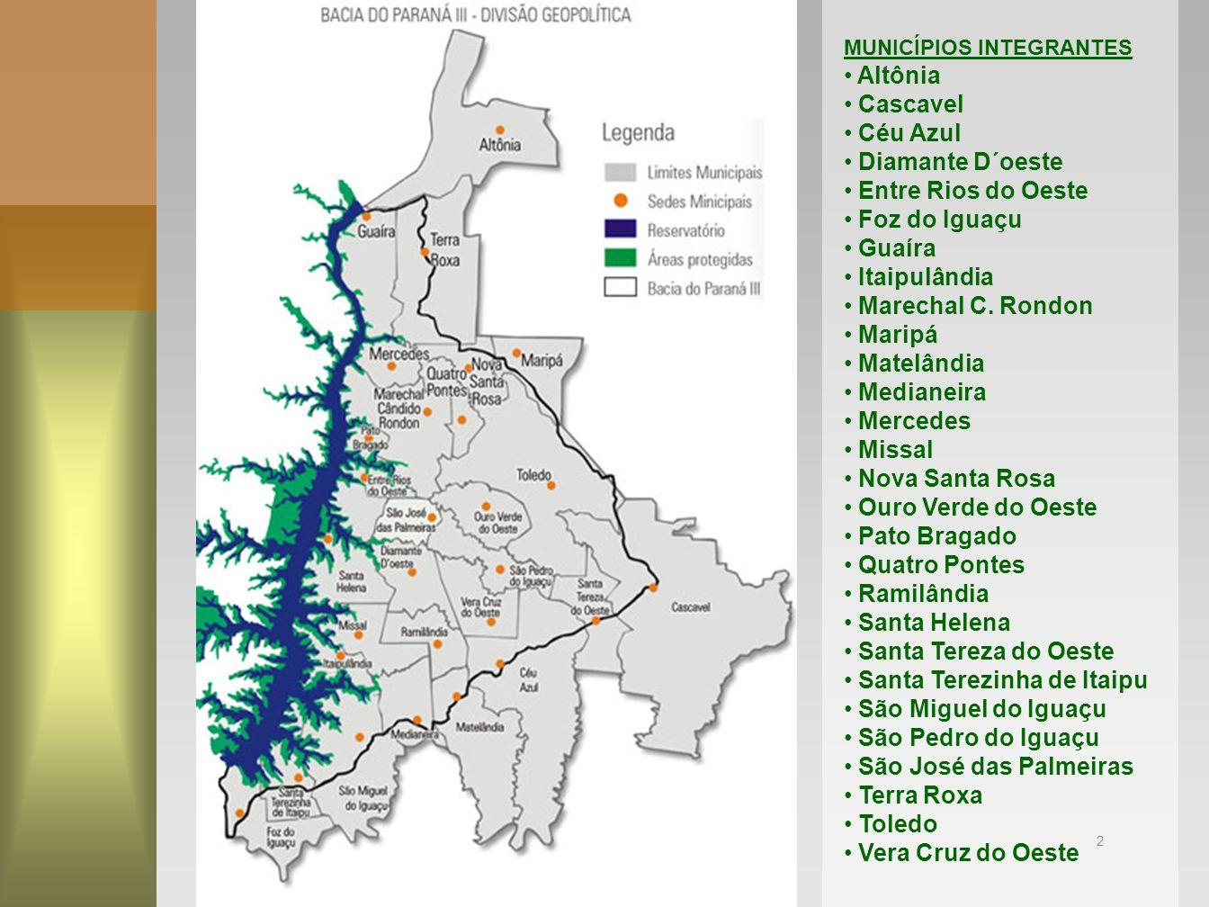 Santa Terezinha de Itaipu São Miguel do Iguaçu São Pedro do Iguaçu
