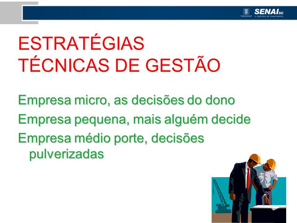ESTRATÉGIAS TÉCNICAS DE GESTÃO