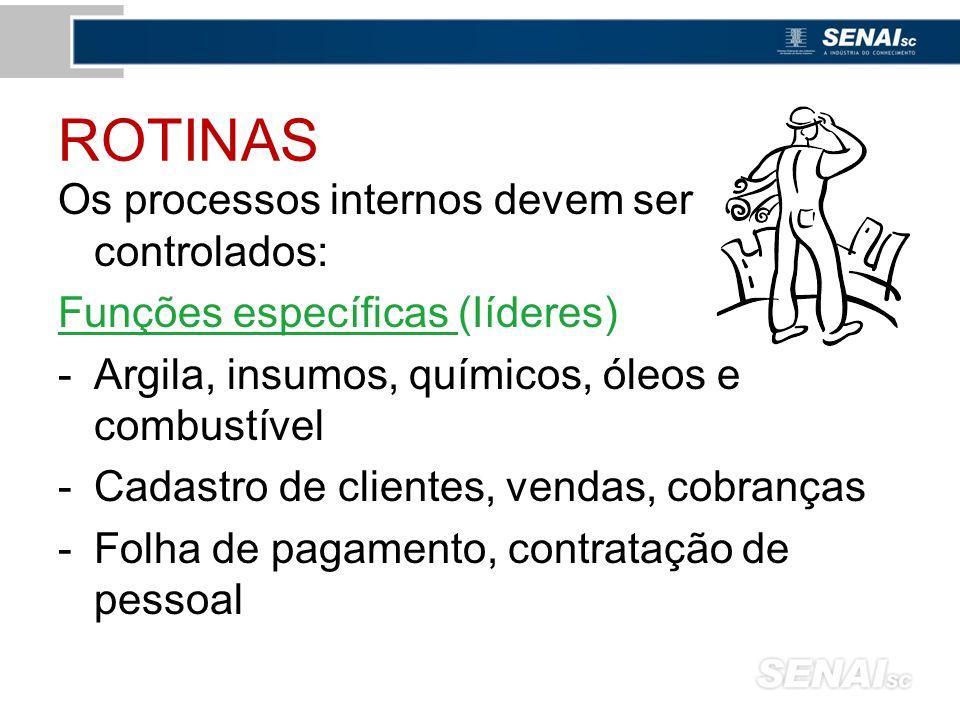 ROTINAS Os processos internos devem ser controlados: