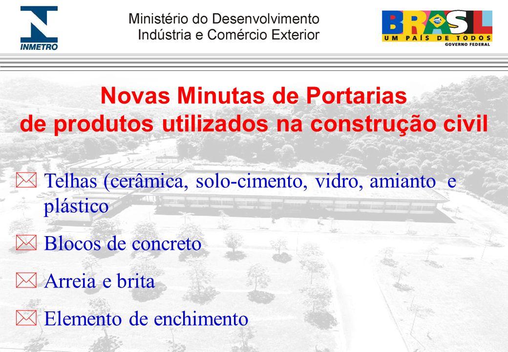 Novas Minutas de Portarias de produtos utilizados na construção civil