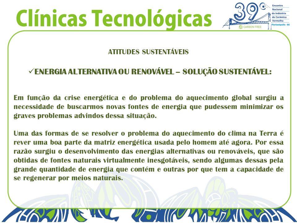 ENERGIA ALTERNATIVA OU RENOVÁVEL – SOLUÇÃO SUSTENTÁVEL: