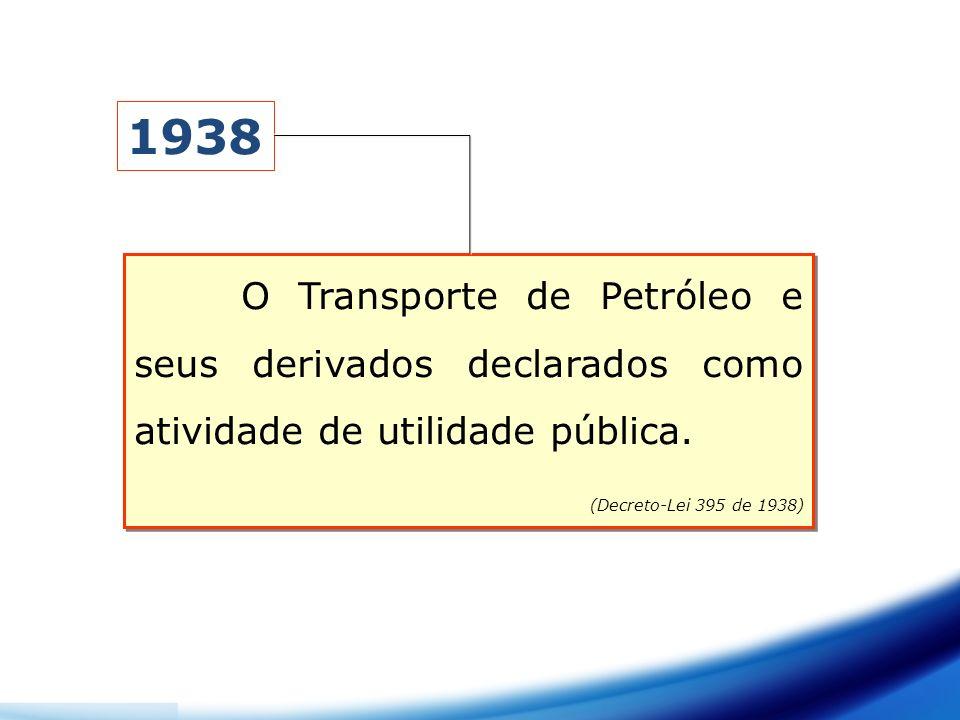 1938 O Transporte de Petróleo e seus derivados declarados como atividade de utilidade pública.