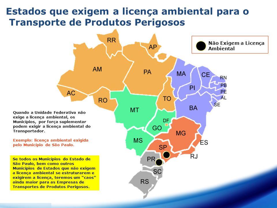 Estados que exigem a licença ambiental para o Transporte de Produtos Perigosos