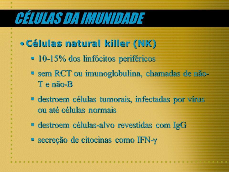 CÉLULAS DA IMUNIDADE Células natural killer (NK)