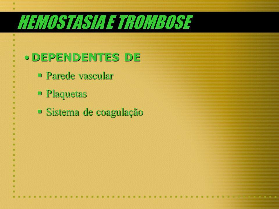 HEMOSTASIA E TROMBOSE DEPENDENTES DE Parede vascular Plaquetas