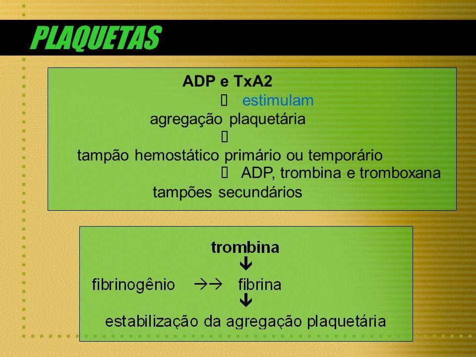 PLAQUETAS ADP e TxA2 ê estimulam agregação plaquetária