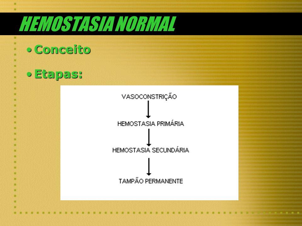 HEMOSTASIA NORMAL Conceito Etapas: