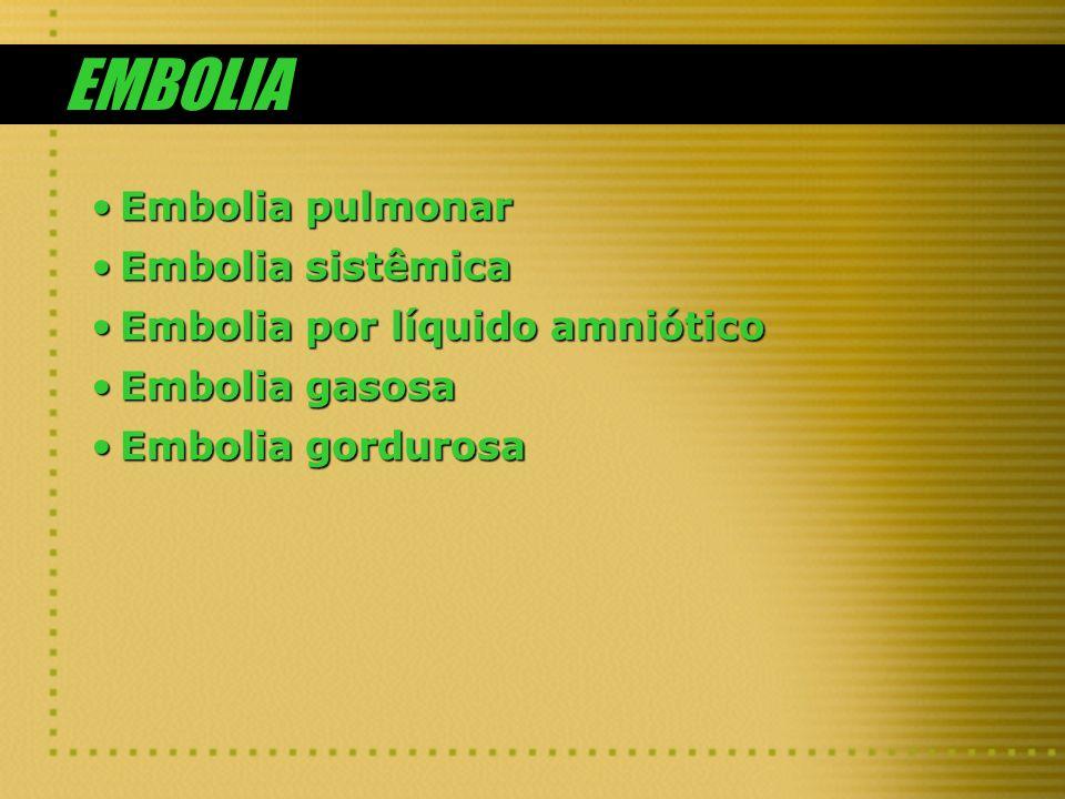EMBOLIA Embolia pulmonar Embolia sistêmica
