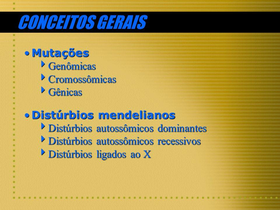 CONCEITOS GERAIS Mutações Genômicas Cromossômicas Gênicas