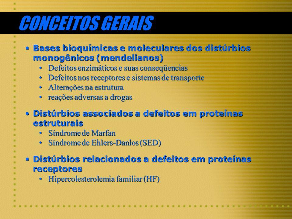 CONCEITOS GERAIS Bases bioquímicas e moleculares dos distúrbios monogênicos (mendelianos) Defeitos enzimáticos e suas conseqüencias.