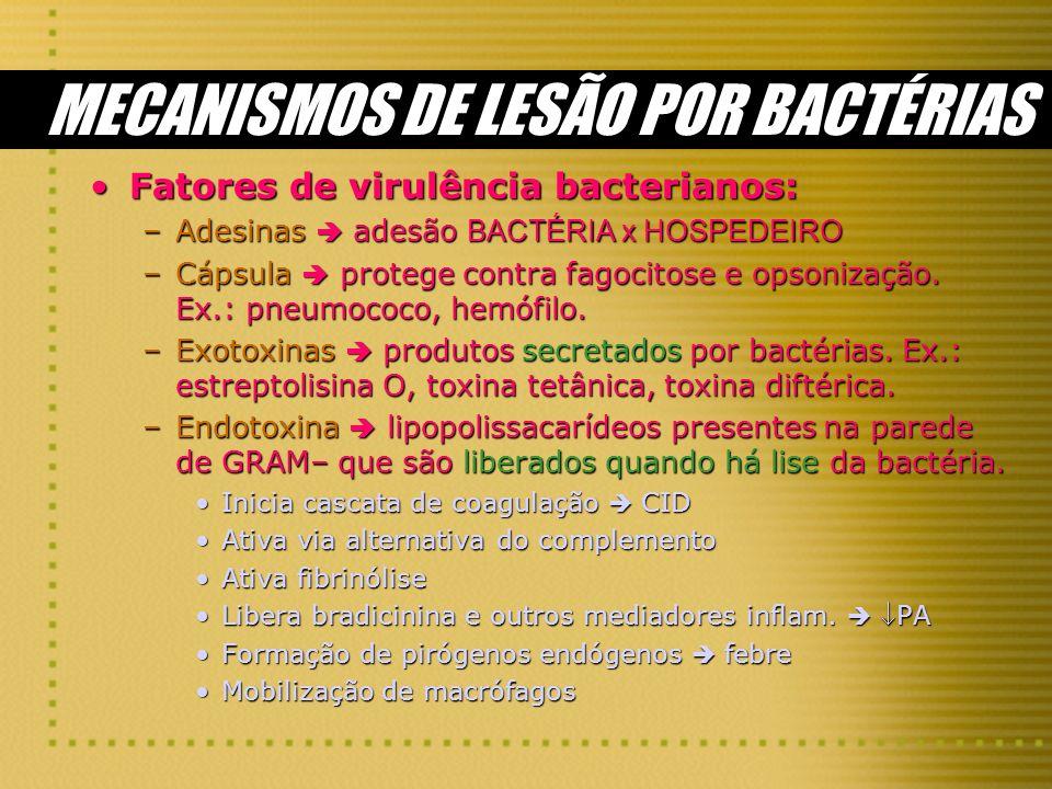 MECANISMOS DE LESÃO POR BACTÉRIAS