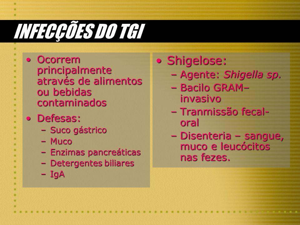 INFECÇÕES DO TGI Shigelose: