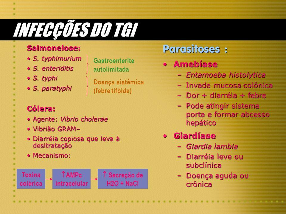 INFECÇÕES DO TGI Parasitoses : Amebíase Giardíase