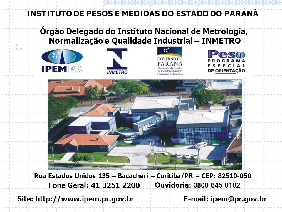 INSTITUTO DE PESOS E MEDIDAS DO ESTADO DO PARANÁ
