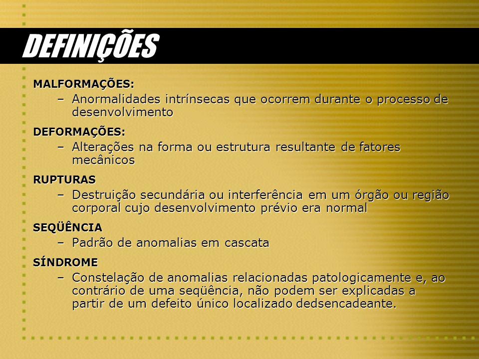 DEFINIÇÕES MALFORMAÇÕES: Anormalidades intrínsecas que ocorrem durante o processo de desenvolvimento.