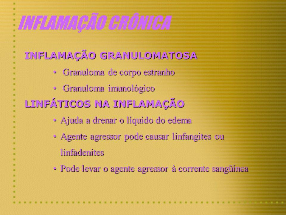 INFLAMAÇÃO CRÔNICA INFLAMAÇÃO GRANULOMATOSA