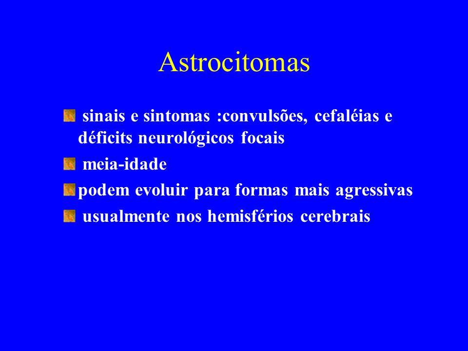 Astrocitomas sinais e sintomas :convulsões, cefaléias e déficits neurológicos focais. meia-idade. podem evoluir para formas mais agressivas.