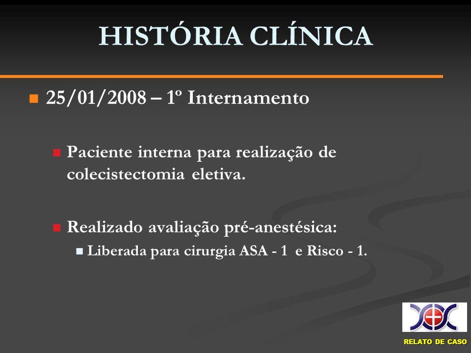 HISTÓRIA CLÍNICA 25/01/2008 – 1º Internamento