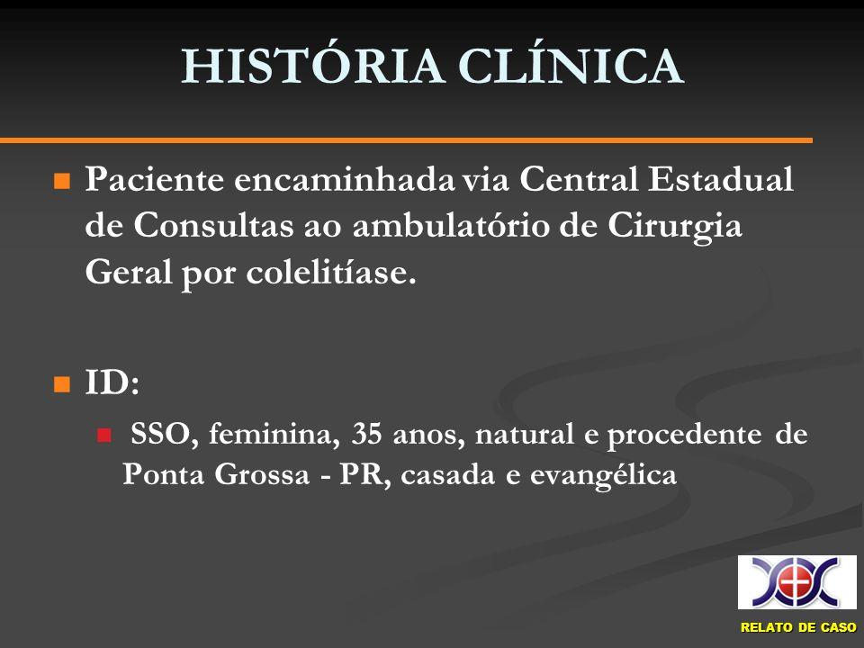 HISTÓRIA CLÍNICAPaciente encaminhada via Central Estadual de Consultas ao ambulatório de Cirurgia Geral por colelitíase.