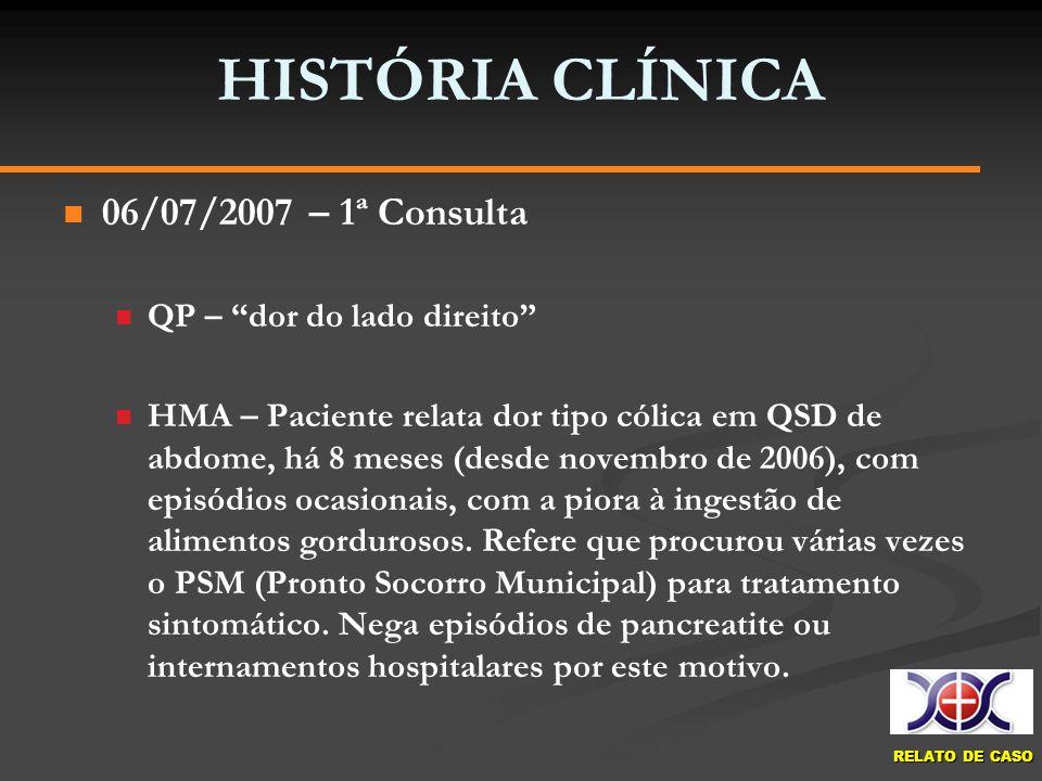 HISTÓRIA CLÍNICA 06/07/2007 – 1ª Consulta QP – dor do lado direito