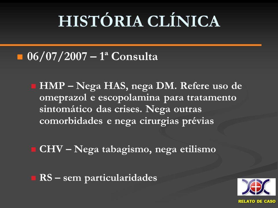 HISTÓRIA CLÍNICA 06/07/2007 – 1ª Consulta