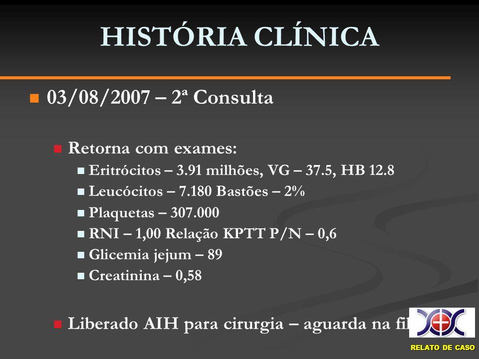 HISTÓRIA CLÍNICA 03/08/2007 – 2ª Consulta Retorna com exames: