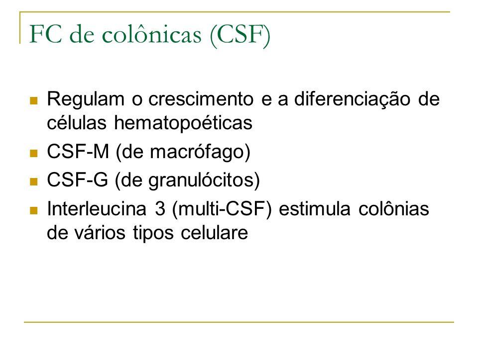 FC de colônicas (CSF) Regulam o crescimento e a diferenciação de células hematopoéticas. CSF-M (de macrófago)