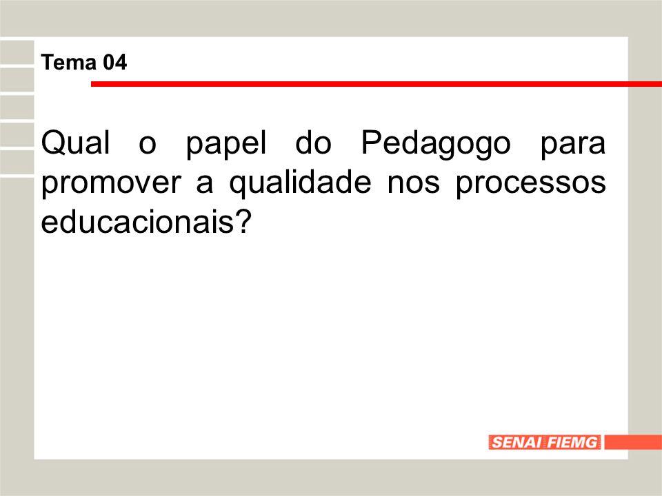 Tema 04 Qual o papel do Pedagogo para promover a qualidade nos processos educacionais