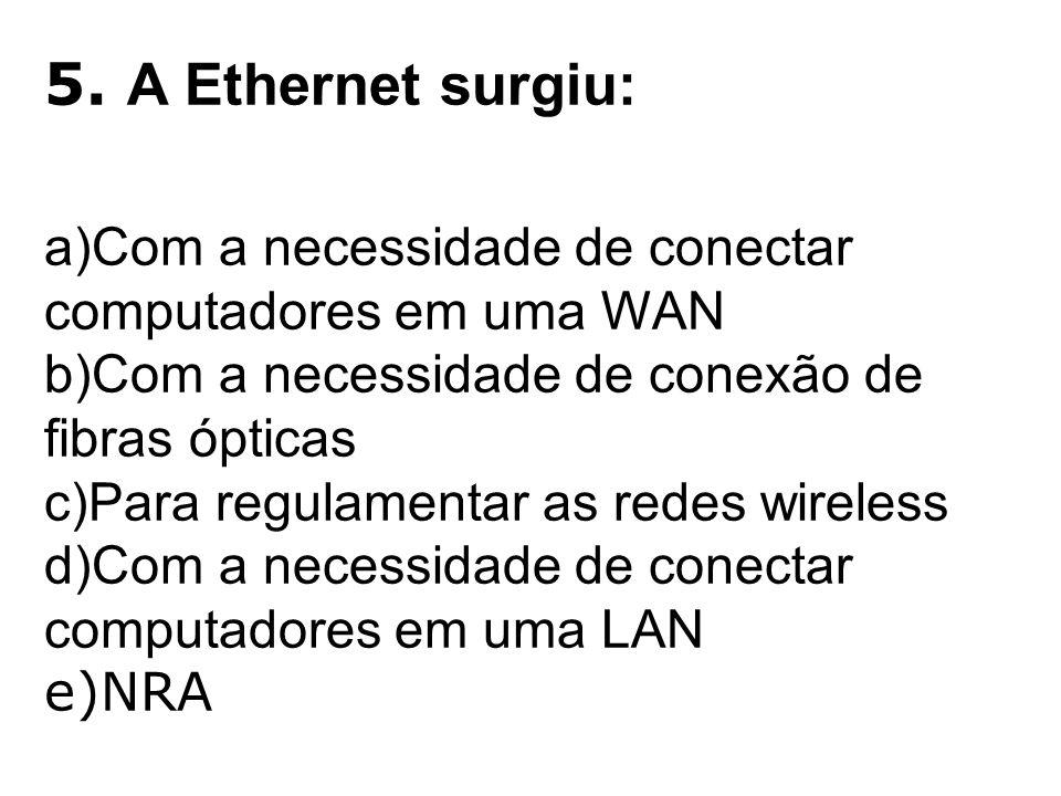 5. A Ethernet surgiu: Com a necessidade de conectar computadores em uma WAN. Com a necessidade de conexão de fibras ópticas.