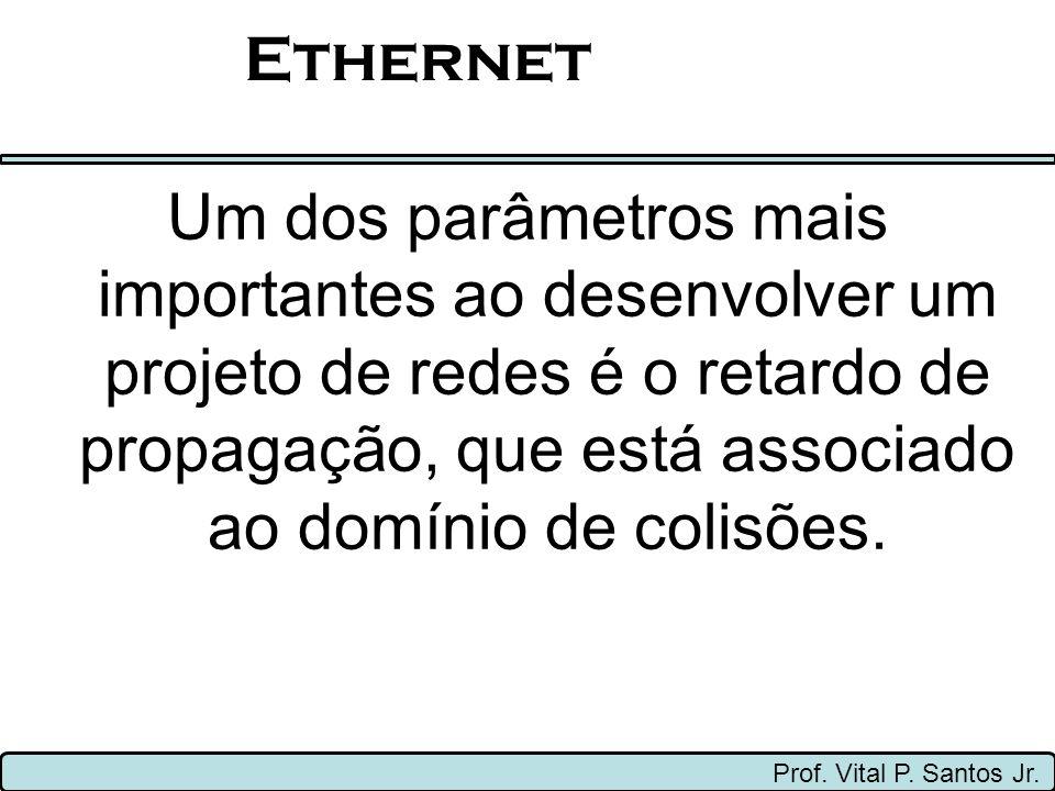 Ethernet Um dos parâmetros mais importantes ao desenvolver um projeto de redes é o retardo de propagação, que está associado ao domínio de colisões.