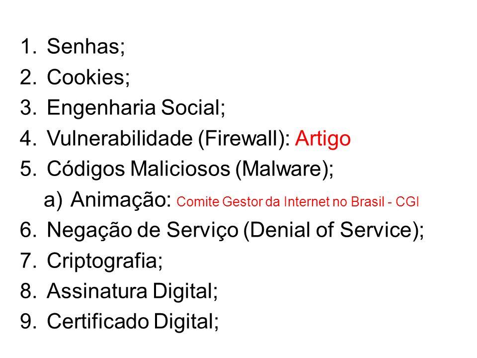 Senhas; Cookies; Engenharia Social; Vulnerabilidade (Firewall): Artigo. Códigos Maliciosos (Malware);