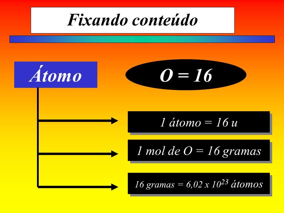 O = 16 Átomo Fixando conteúdo 1 átomo = 16 u 1 mol de O = 16 gramas