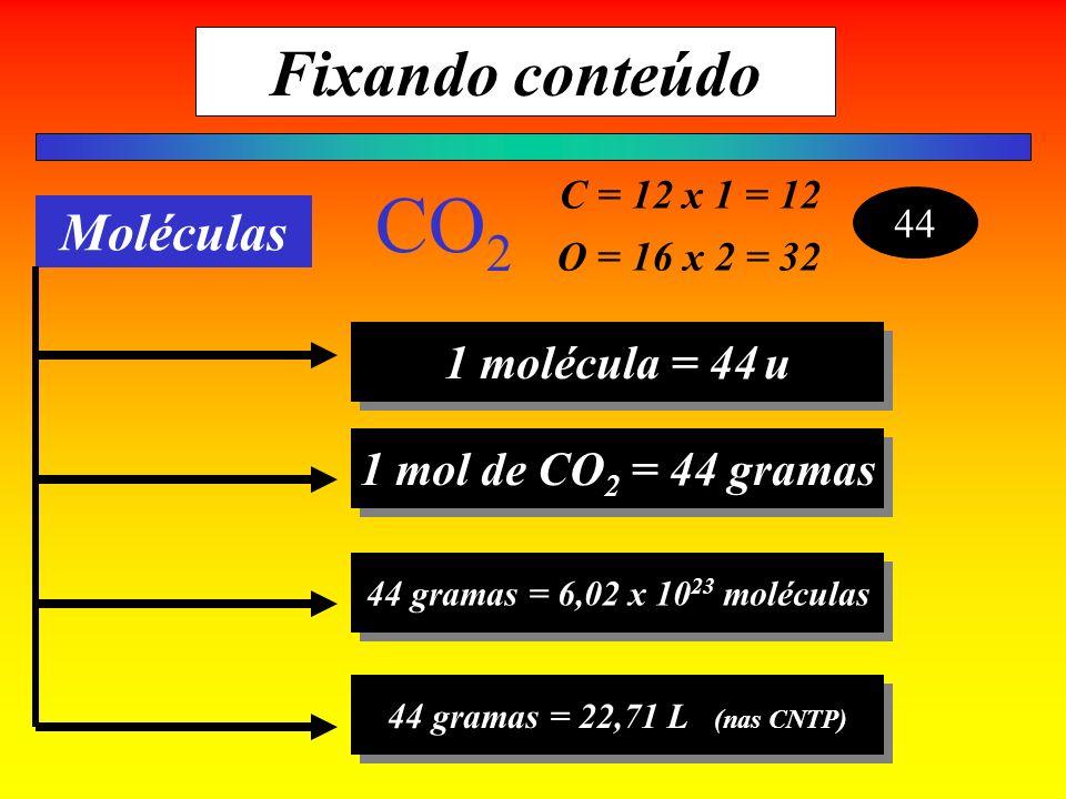 CO2 Fixando conteúdo Moléculas 1 molécula = 44 u