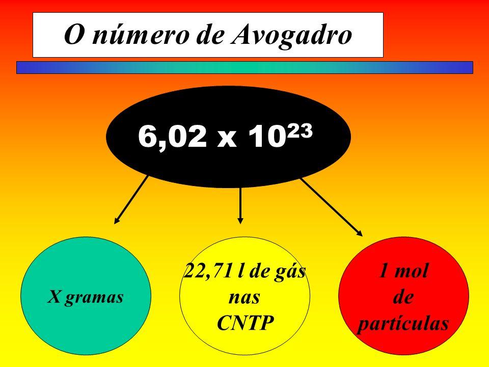 O número de Avogadro 6,02 x 1023 22,71 l de gás nas CNTP 1 mol de