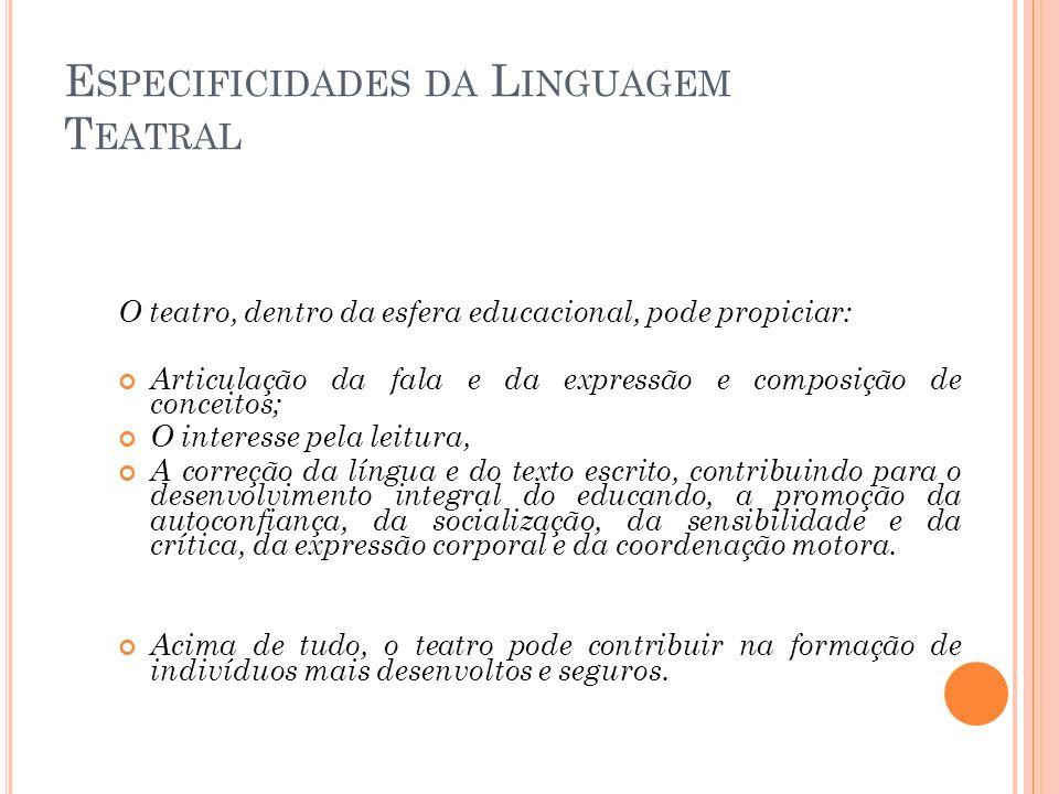 Especificidades da Linguagem Teatral