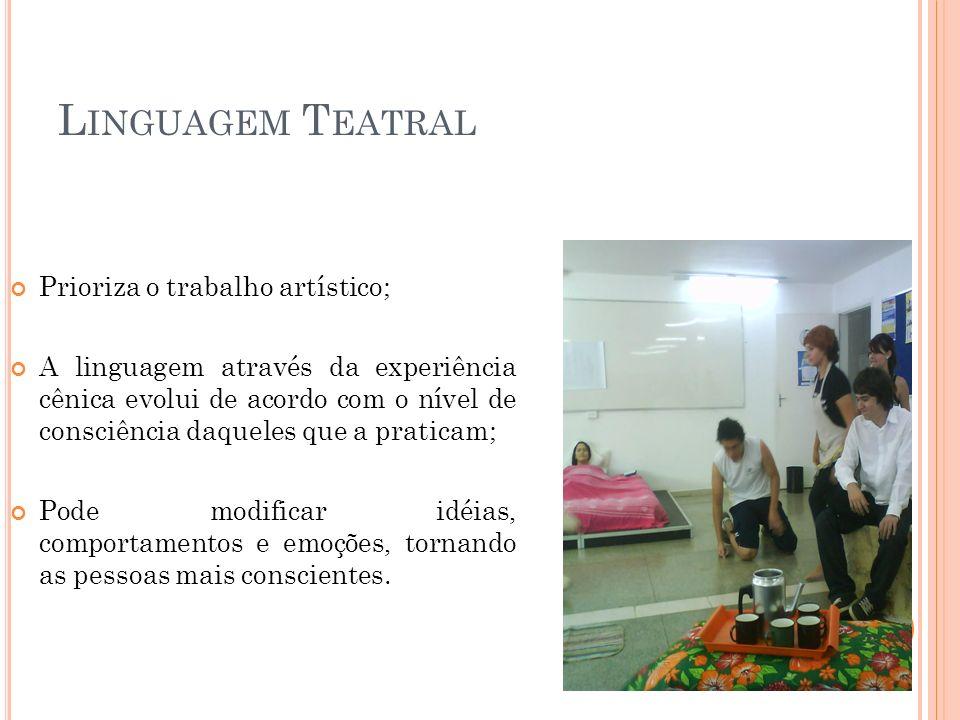 Linguagem Teatral Prioriza o trabalho artístico;