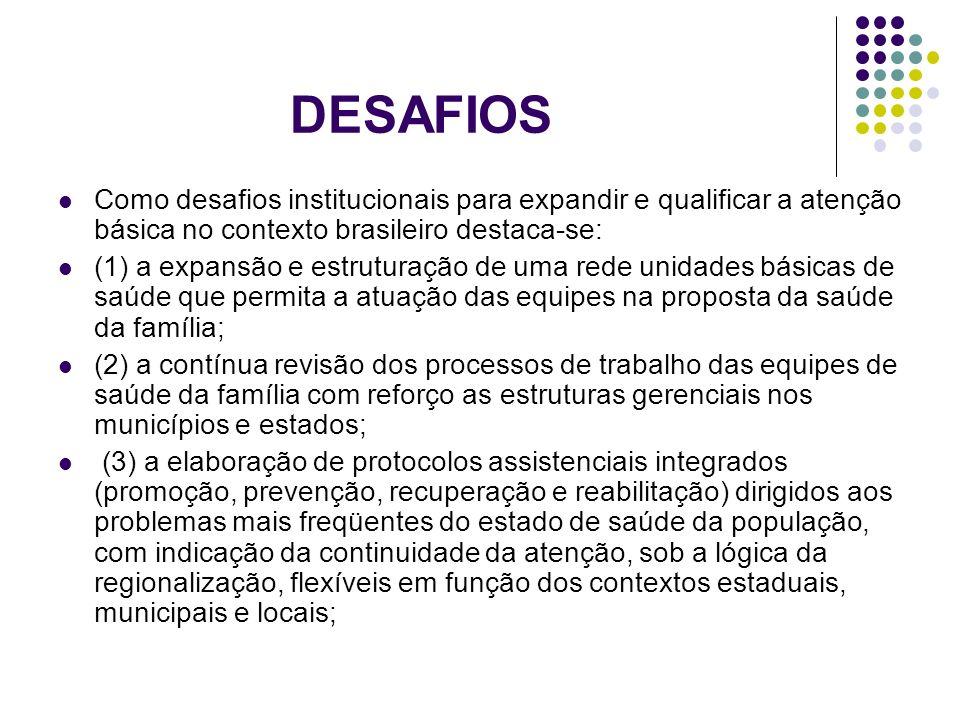 DESAFIOS Como desafios institucionais para expandir e qualificar a atenção básica no contexto brasileiro destaca-se: