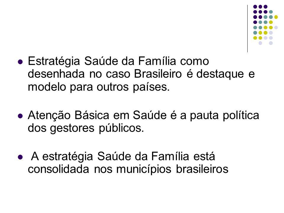 Estratégia Saúde da Família como desenhada no caso Brasileiro é destaque e modelo para outros países.